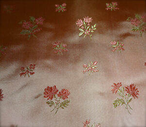 Vintage French Roses Floral Brocade Jacquard Satin Silk Fabric Pink Apricot