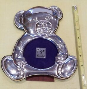 Sterling Silver Teddy Bear Baby Picture Photo Frame Free Shipping