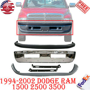 Front Bumper Chrome Up Low Cover Bracket For 94 02 Dodge Ram 1500 3500 5pc