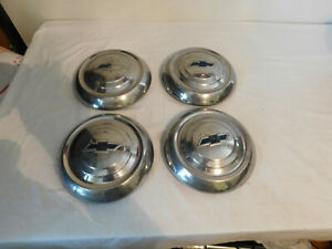 4 Chevrolet Vintage Hubcap Dog Dish Driver Condtion Chevy Solid 1950 s