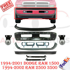 Front Primed Bumper Up Low Cover Fog Light For 1999 2002 Dodge Ram 1500 3500