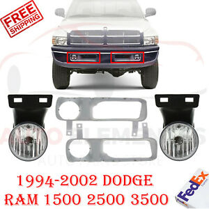 Bumper Sight Shield Fog Light Cover Fog Lights For 99 01 Dodge Ram 1500 3500
