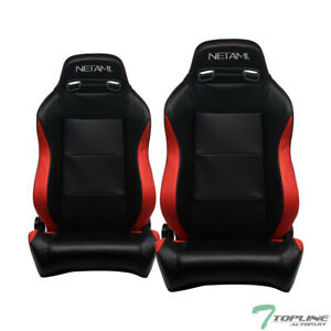Topline For Gmc Honda 2x T r Pvc Leather Reclinable Racing Seat slider Blk red