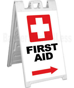 First Aid Double Sided Sign A frame Sidewalk Pavement Signicade Sign