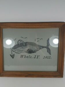 Whale J F 1831 Picture In Wooden Frame Drawling Vintage Art Unique