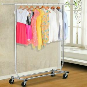 Portable Single bar Steel Adjustable Clothing Garment Rolling Clothes Rack Us