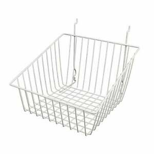 Econoco s White Sloped front Metal Wire Basket For Slatwall Pegboard Or