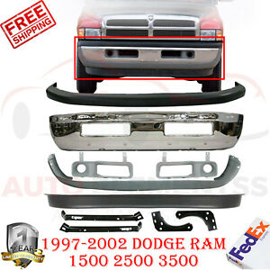 Front Chrome Steel Bumper Cover Fog Bracket For 99 2002 Dodge Ram 1500 3500