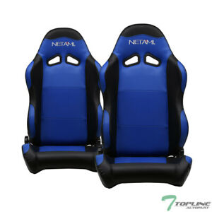 Topline For Nissan 2x Sp Pvc Leather Reclinable Racing Seats slider Black blue