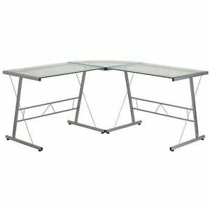Glass L shape Corner Computer Desk With Metal Frame Clear silver Medium