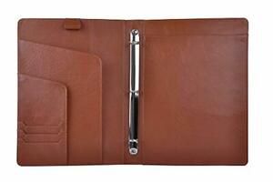 Leather Organizer Padfolio With 3 ring Binder Fits Letter size A4
