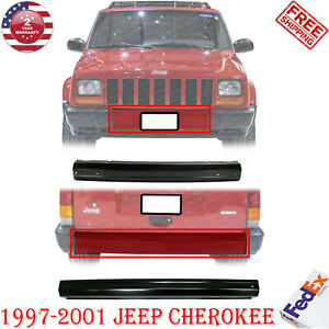 Front Rear Bumper Center Face Bar Primed For 1997 2001 Jeep Cherokee 2pc
