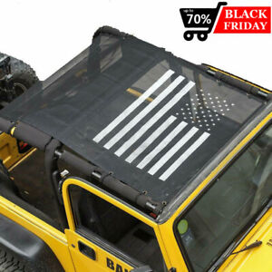 Fit Jeep Wrangler Tj 97 06 Us Flag Roof Mesh Sunshade Top Cover Uv Protection