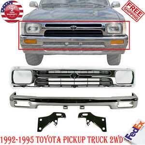 Front Bumper Chrome Grille Bracket Kit For 1992 95 Toyota Pickup Truck 4wd