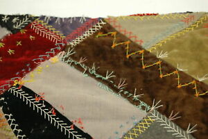 Antique 1896 Crazy Quilt Piece Embroidered Detailed Stitching Ep231