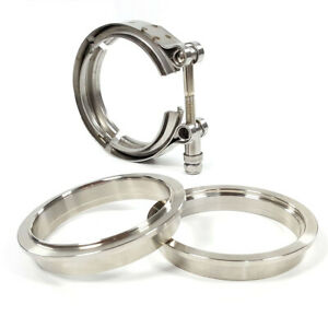 Exhaust 3 5 V Band Flange Clamp 3 1 2 Kit Stainless Steel Male Female Set