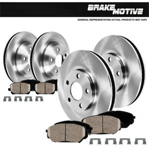 Front And Rear Rotors Ceramic Pads Clips For 2011 2012 2017 Dodge Durango