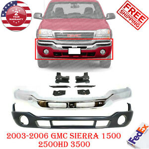 Front Bumper Chrome Steel Valance Bracket For 2003 07 Gmc Sierra 1500 3500