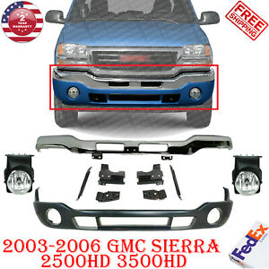 Front Bumper Chrome W Bracket Valance Fog Light For 2003 2006 Gmc Sierra