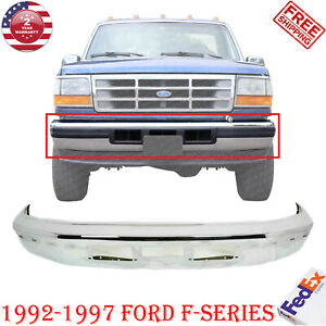 Front Bumper Chrome For 1992 1997 Ford F series W Air Intake And Molding Holes