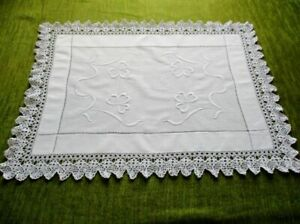 Antique Tray Cloth With Embroidery And Hand Crochet Trim