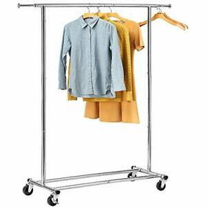 Portable Clothing Garment Rack Heavy Duty Rolling Clothes Collapsible Grade Home