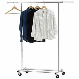 Clothes Garment Rack Extendable Collapsible Clothing Storage Shelf Rolling On