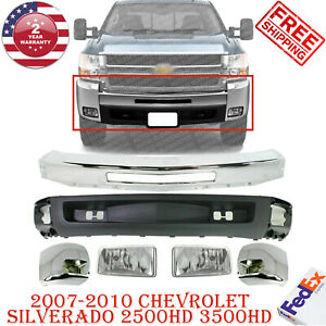 Front Bumper Chrome Ends Valance For 2007 2010 Chevy Silverado 2500hd 3500