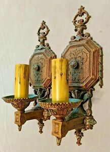 Antique Isco Cast Aluminum Single Candle Sconces Refinished In Bronze Rewired