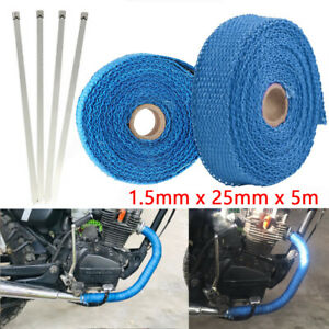 5m Blue Heat Insulation Wrap Exhaust Header Pipe Tape Cloth For Car Motorcycle