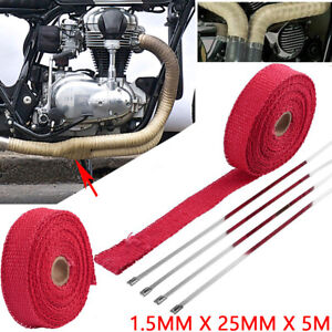 Us 5m Red Heat Insulation Wrap Exhaust Header Pipe Tape Cloth For Car Motorcycle