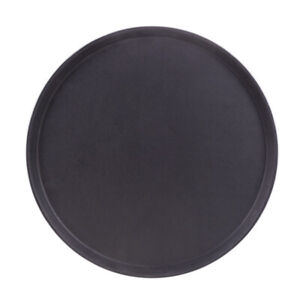Round Black Plastic Serving Tray With No slip Rubber Lining 18