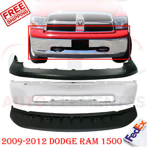 Front Bumper Chrome Steel Up Primed Cover Valance For 09 2012 Dodge Ram 1500