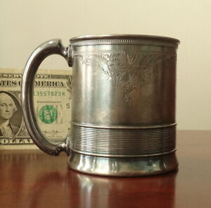 1877 Gorham Sterling Silver Childs Cup Mug Christmas Victorian Christening Baby