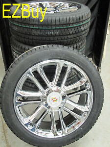 22 New Platinum Escalade Chrome Wheels 285 45 22 Bridgestone Tires 5358 Set 4