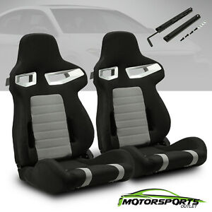2 X Black Pvc Main punching Leather Left right Racing Seats Adjustor Slider