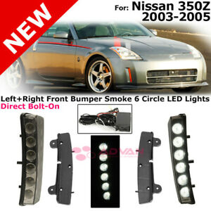 Left Right Bumper Drl Lights Led For 03 05 Nissan 350z Smoke Reflector Lamps