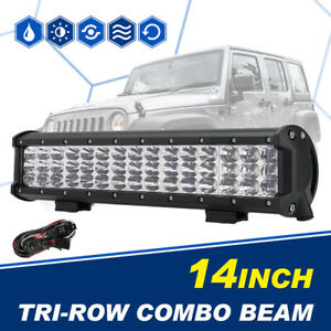 15inch Tri Row Cree Led Light Bar Spot Flood Combo Offroad Driving Truck Suv 4wd
