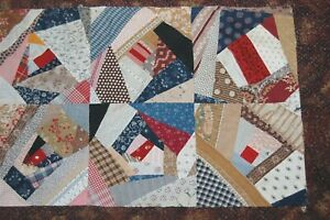 Crazy Quilt Top Piece Early Fabric Madder Antique Cotton Patchwork Repurpose