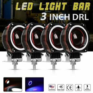 4x 3 Inch Led Work Light Bar Round Offroad Suv Atv Driving Pods Angle Eye Halo