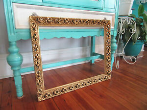 Large Vintage Ornate Wooden Picture Frame Baroque Gold Gilt Cutout 18 1 2 X 24