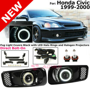 Fog Lights For Honda Civic 99 00 Led Halo Ring Black Covers Clear Lens Projector