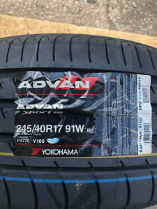 2 New 245 40 17 Yokohama Advan Sport Tires