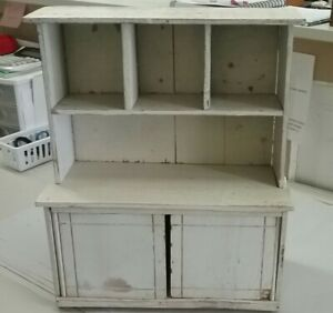 Vintage Childs Painted Cottage Cupboard Hutch Hoosier Sellers 15 Tall
