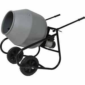 Klutch Portable Electric Cement Mixer 2 Cubic Ft Poly Drum