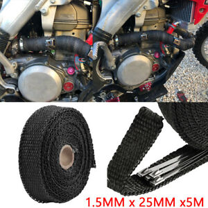 5m Black Heat Insulation Wrap Exhaust Header Pipe Tape Cloth For Car Motorcycle