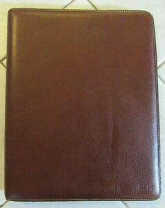 Johnston Murphy Brown Leather Letter Folio Legal Notepad Portfolio Folder L k