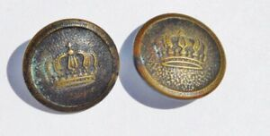 Antique Metal Button Lot Of 2 Crown Shank Round Eao On The Back Of The One