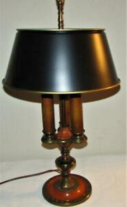 Rare Antique Lightolier Art Deco Bouillotte Lamp 3 Light Brass W Chinese Red