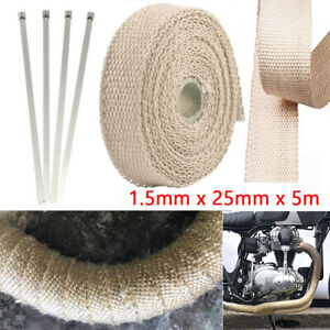 5m Beige Heat Insulation Wrap Exhaust Header Pipe Tape Cloth For Car Motorcycle